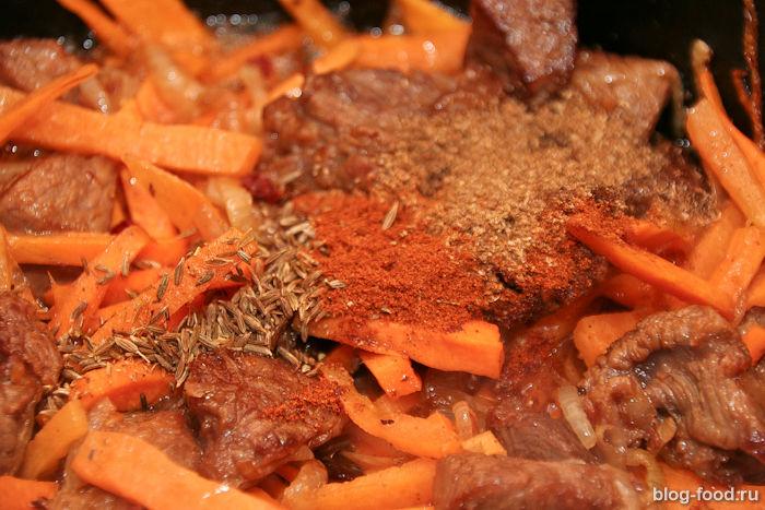 Плов в казане из говядины на костре рецепт