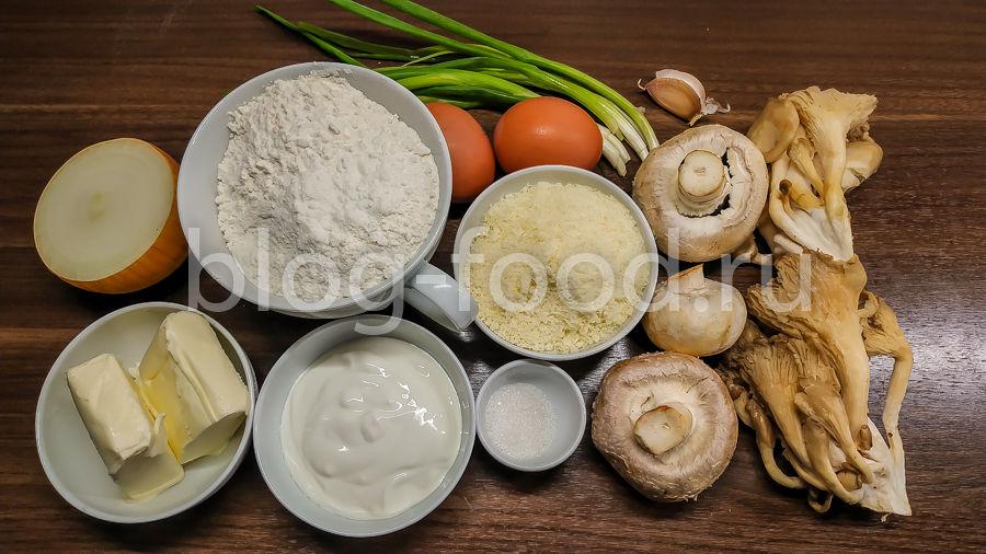 Французский пирог с грибами и сыром