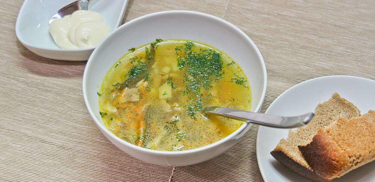 Суп из шампиньонов с вешенками