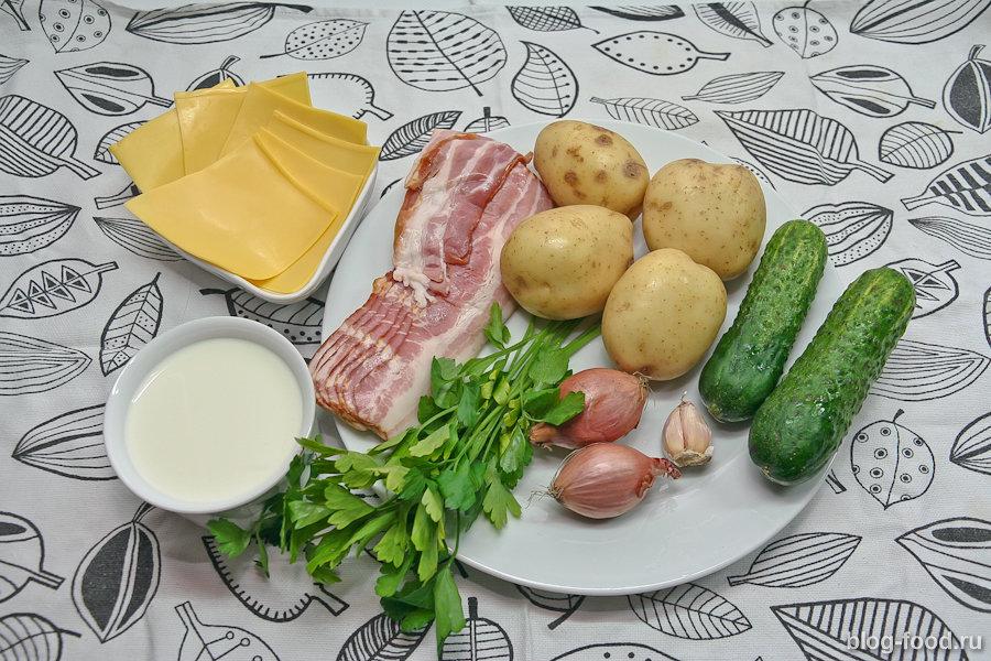 Картофельный гратен с беконом и сыром