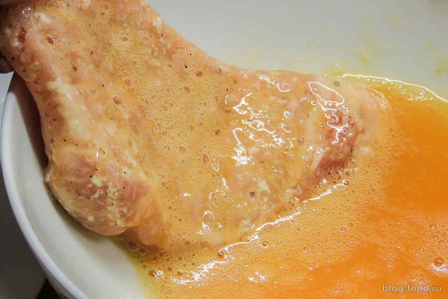 Венский шницель из свинины с тальятелле