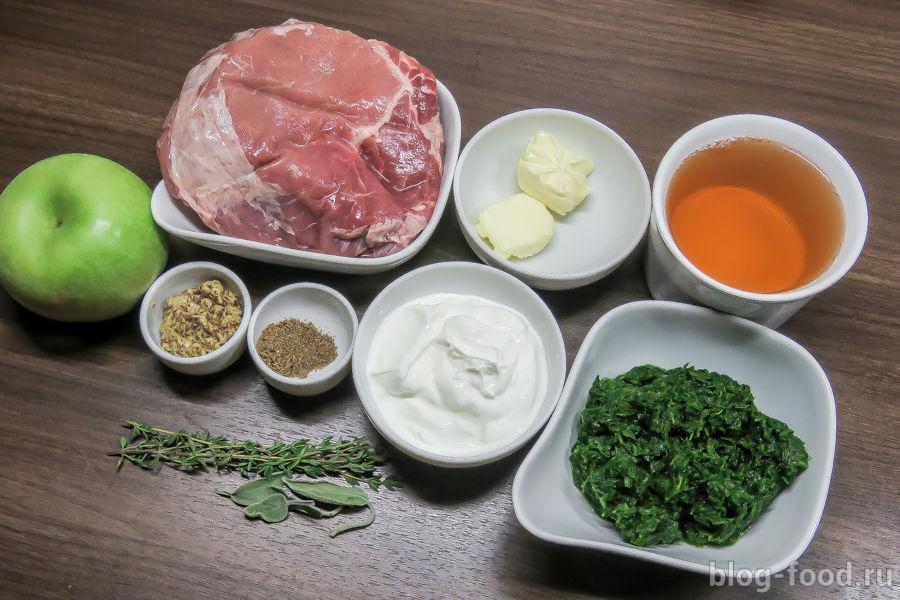 Жареная свинина со шпинатно-яблочным соусом