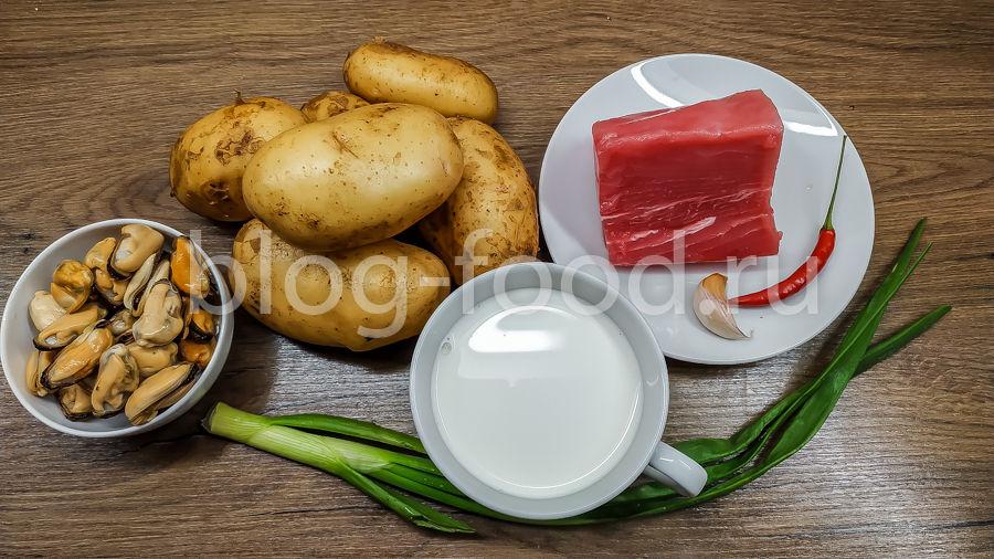 Тунец в сливочном соусе из мидий