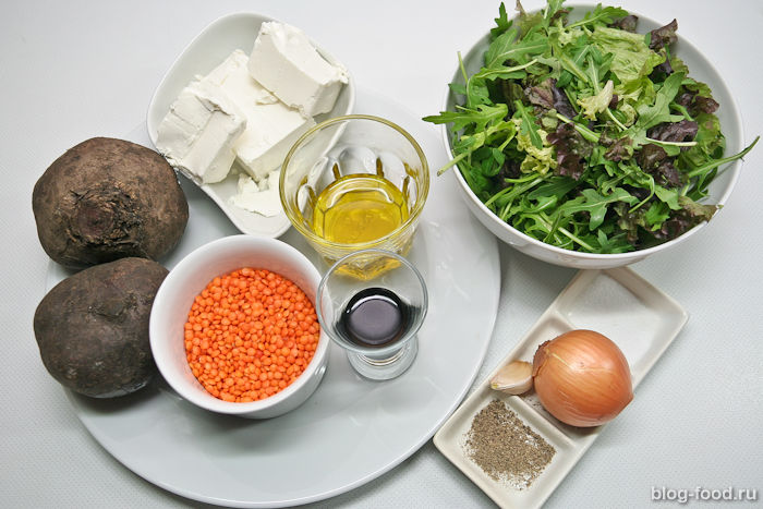 Свекольный салат с чечевицей